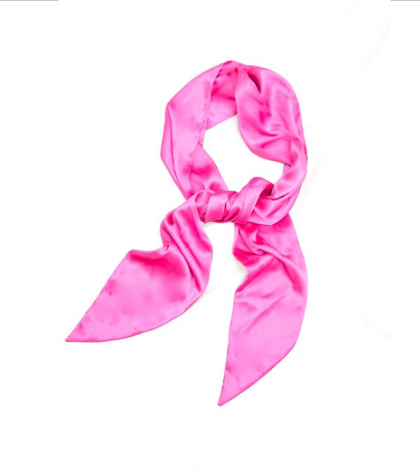 The Crescent Silky Scarf (Bubble Gum Pink)
